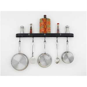 Fleur De Liz Black Leather Wall Mounted Pot Rack