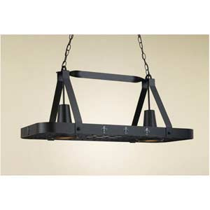 FLeur De Liz Black Leather Lighted Pot Rack