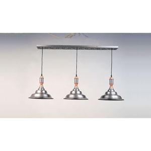 Satin Steel and Copper 15-Inch Three-Light Billiard Light