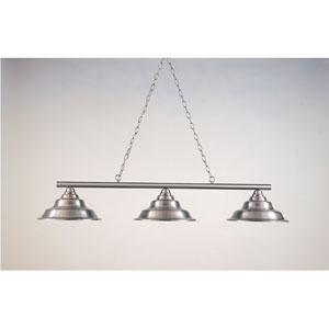Satin Steel 12-Inch Three-Light Billiard Light