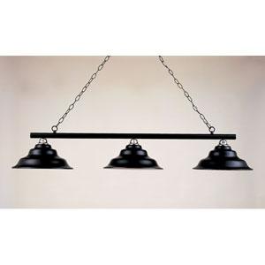 Black Leather and Chrome 12-Inch Three-Light Billiard Light