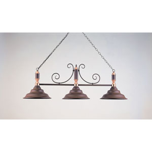 Rust and Polished Copper 18-Inch Three-Light Billiard Light