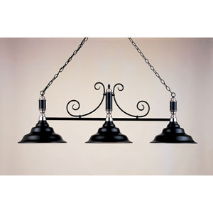 Black Leather and Chrome 18-Inch Three-Light Billiard Light