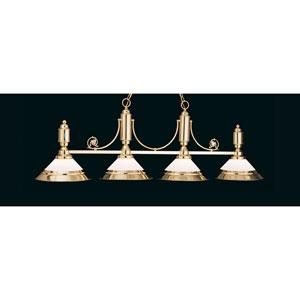 Polished Brass 20-Inch Four-Light Billiard Light