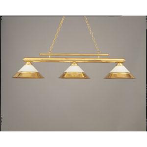 Polished Brass and White 15-Inch Three-Light Billiard Light