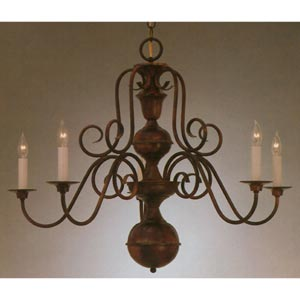Rosewood Five-Light Chandelier