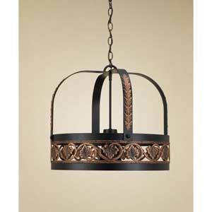 Leaf Black Leather Lighted Pot Rack