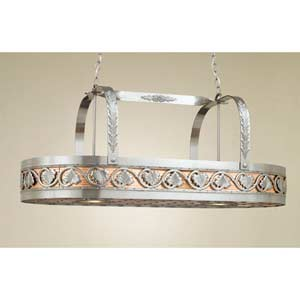 Leaf Satin Steel Lighted Pot Rack with Copper Insert