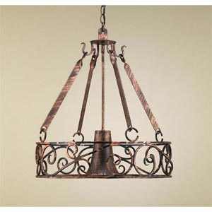 Authentic Iron Black Leather Lighted Pot Rack with Solid Down Light
