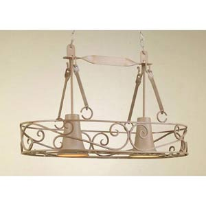 Authentic Iron Natural Sand Lighted Pot Rack with Solid Down Light