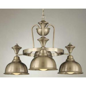 Country Satin Steel Four-Light Chandelier
