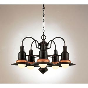 Five-Light Hooded Chandelier