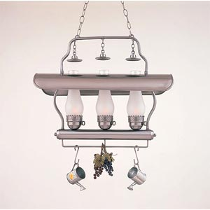 Nostalgic Three-Light Trestle Pendant With Rack