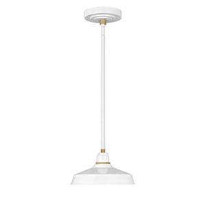Foundry Gloss White 10-Inch One-Light Dark Sky Outdoor Pendant