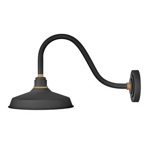 Foundry Textured Black 13-Inch One-Light Dark Sky Curve Wall Mount