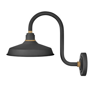 Foundry Textured Black 17-Inch One-Light Dark Sky Curve Wall Mount