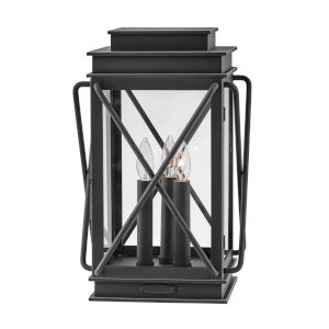 Montecito Museum Black Three-Light Outdoor Pier Mount