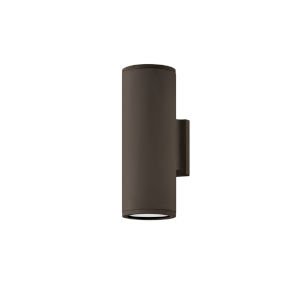 Silo Architectural Bronze Two-Light Led Outdoor Wall Mount With Etched Glass