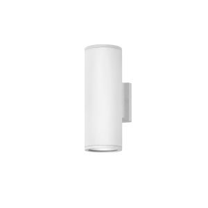 Silo Satin White Two-Light Led Outdoor Wall Mount With Etched Glass