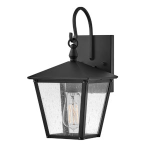 Huntersfield Black One-Light Outdoor Wall Mount With Clear Seedy Glass