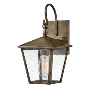 Huntersfield Burnished Bronze One-Light Outdoor Wall Mount With Clear Seedy Glass