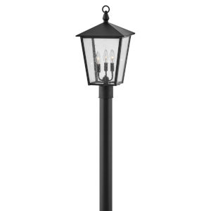 Huntersfield Black Three-Light Outdoor Post Mount With Clear Seedy Glass