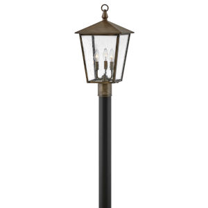 Huntersfield Burnished Bronze Three-Light Outdoor Post Mount With Clear Seedy Glass