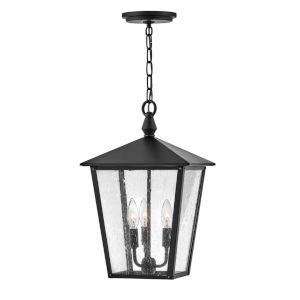 Huntersfield  Black Three-Light Outdoor Pendant With Clear Seedy Glass