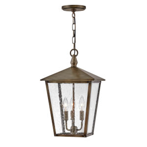Huntersfield Burnished Bronze Three-Light Outdoor Pendant With Clear Seedy Glass