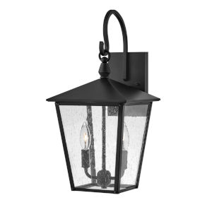 Huntersfield Black Two-Light Outdoor Wall Mount With Clear Seedy Glass