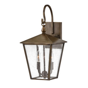 Huntersfield Burnished Bronze Two-Light Outdoor Wall Mount With Clear Seedy Glass