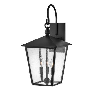 Huntersfield Black Three-Light Outdoor Wall Mount With Clear Seedy Glass
