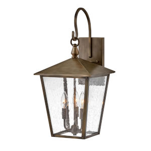 Huntersfield Burnished Bronze Three-Light Outdoor Wall Mount With Clear Seedy Glass