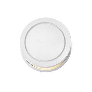 Satin White LED Round Deck Light with Etched Glass