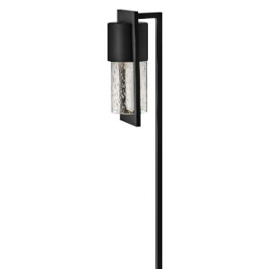 Shelter Black One-Light Path Light with Clear Seedy Glass