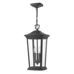 Bromley Museum Black Three-Light LED Outdoor Pendant