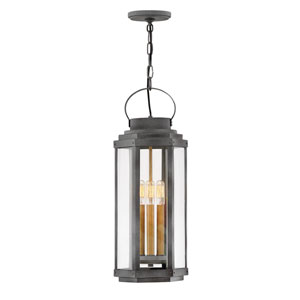 Danbury Aged Zinc Three-Light Outdoor Pendant