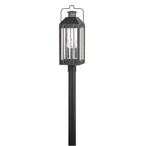 Fitzgerald Textured Black Three-Light Outdoor Post Mount