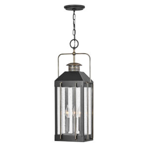 Fitzgerald Textured Black Three-Light Outdoor Pendant