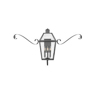 Nouvelle Blackened Brass Three-Light Outdoor Wall Mount