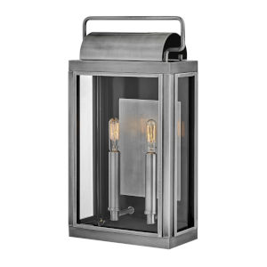 Sag Harbor Antique Brushed Aluminum  Two-Light Outdoor Wall Mount