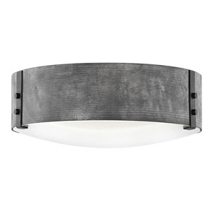 Sawyer Aged Zinc Three-Light LED Outdoor Flush Mount