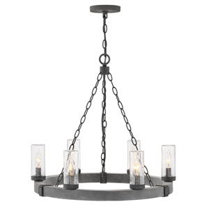 Sawyer Aged Zinc Six-Light LED Outdoor Chandelier