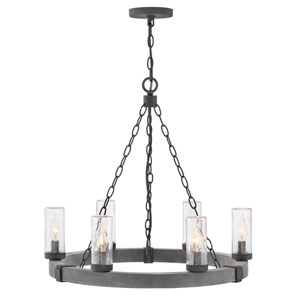 Sawyer Aged Zinc Six-Light Outdoor Chandelier