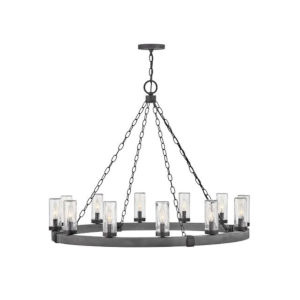 Sawyer Aged Zinc 12-Light Led Outdoor Chandelier