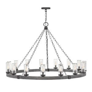 Sawyer Aged Zinc 15-Light Outdoor Chandelier