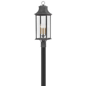 Adair Aged Zinc Three-Light Led Post Mount