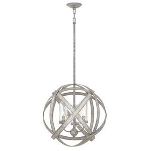 Carson Weathered Zinc Three-Light LED Outdoor Pendant