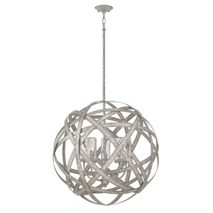 Carson Weathered Zinc Five-Light LED Outdoor Pendant
