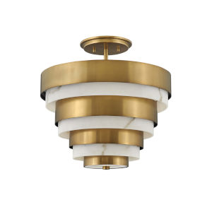 Echelon Heritage Brass Three-Light Semi-Flush Mount